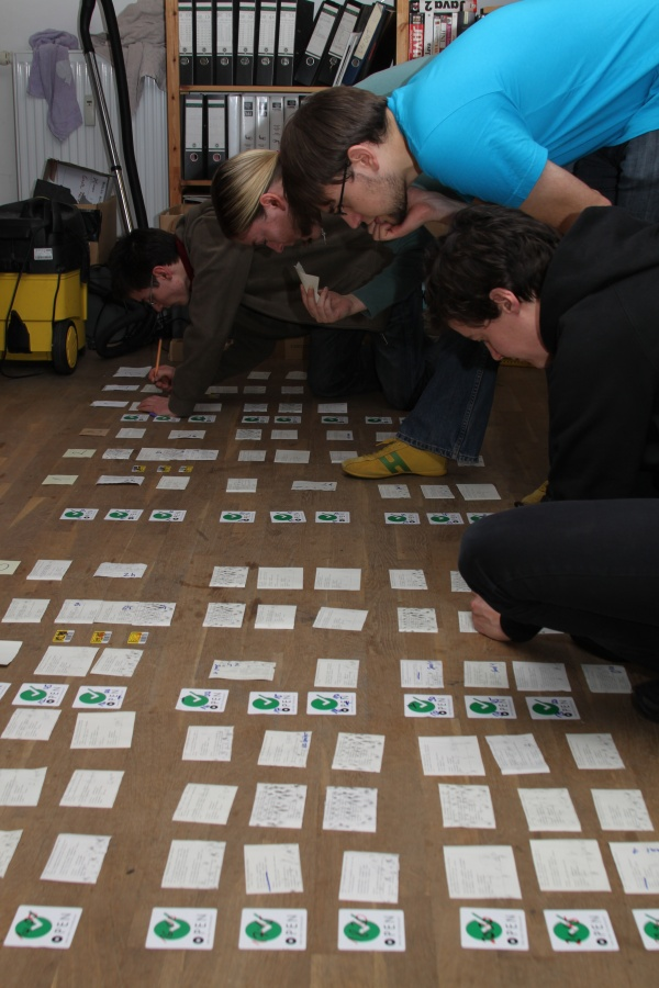 Shows the finished schedule for 27C3 laid out on the floor