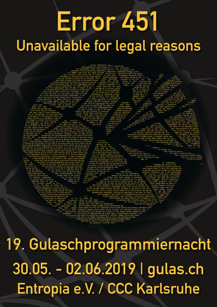 Plakat der 19. Gulaschprogrammiernacht
