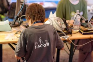 Soldering at Camp 2015 at BlinkenArea