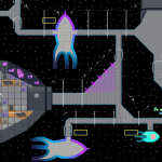 Space station with empty rooms and one room with buildup material